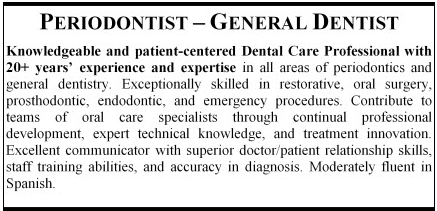 Example of a summary paragraph for a periodontist