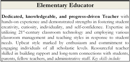 Example of a summary paragraph for an elementary education professional
