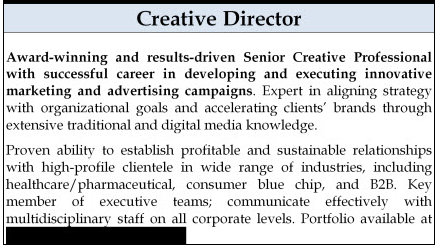 Example of a summary paragraph for a creative director