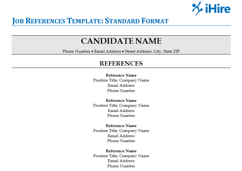 Picture of the standard job references template