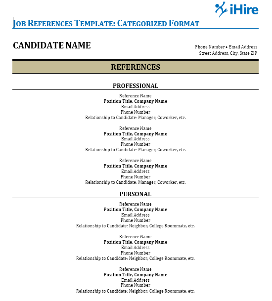 Picture of the categorized job references template