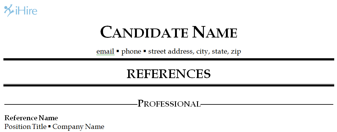 job references template 2 the categorized format