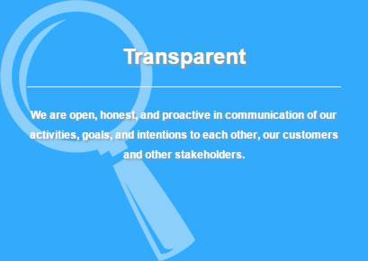 Definition of iHire's core value: transparent