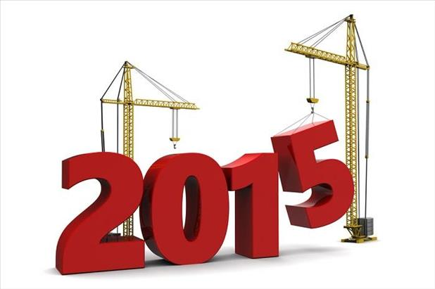 Stylized image of construction equipment putting numbers in place for 2015