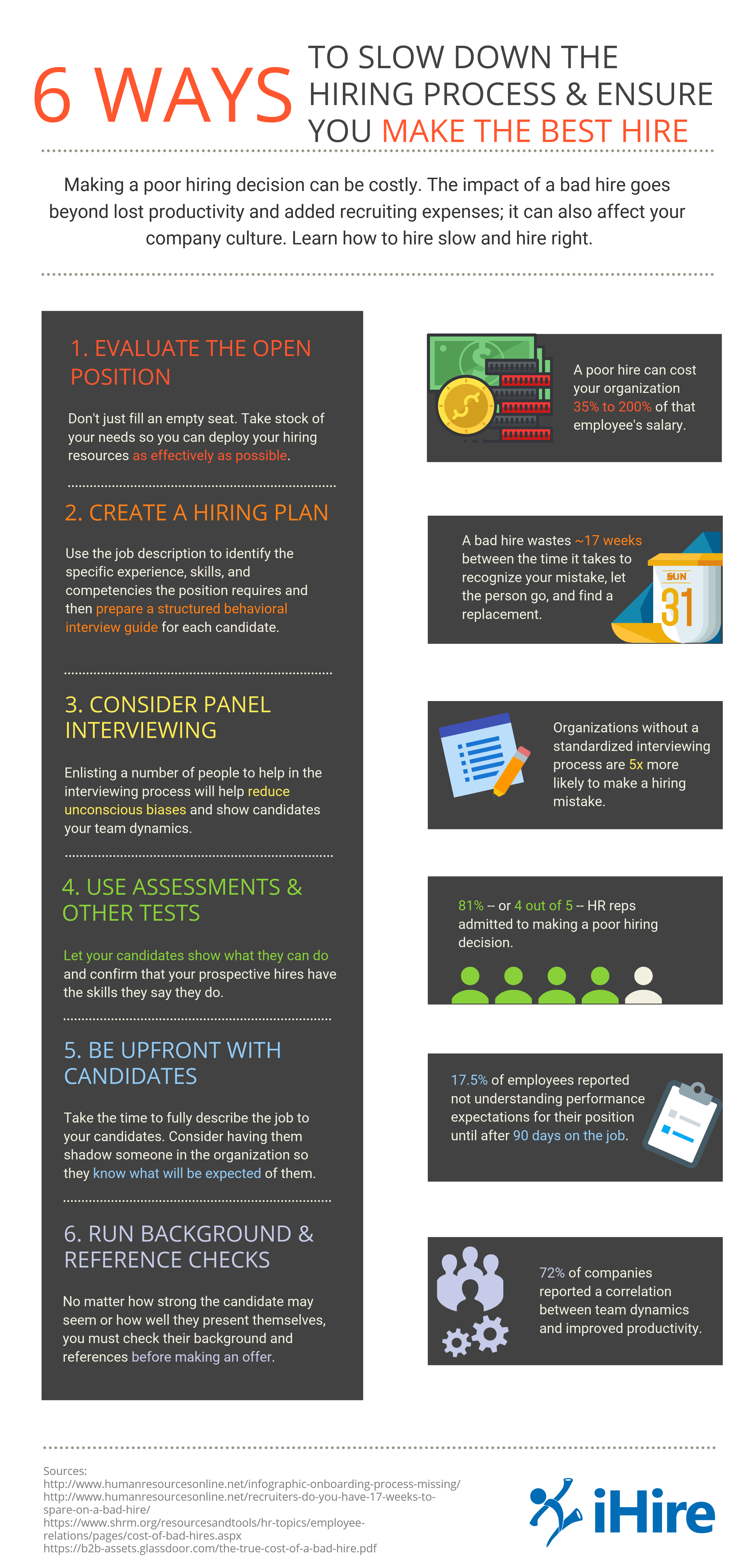 6 ways to slow down the hiring process and ensure you make the best hire. Infographic.