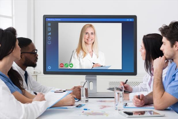 Telehealth professionals on a video call