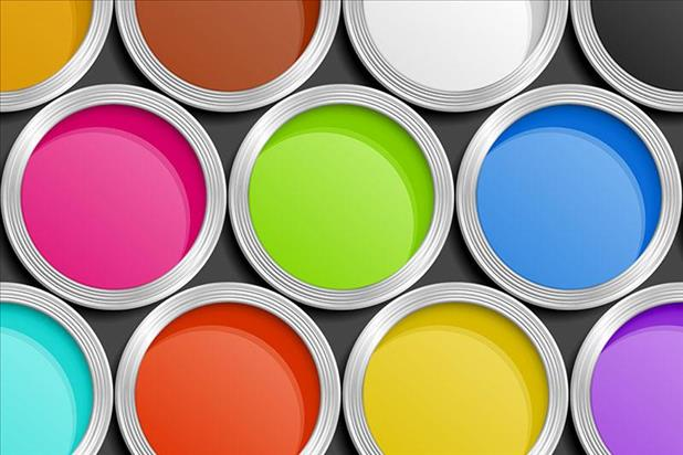 Set of open paint cans showing several bright colors