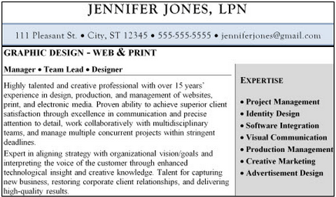 Example of how to use shading in a resume