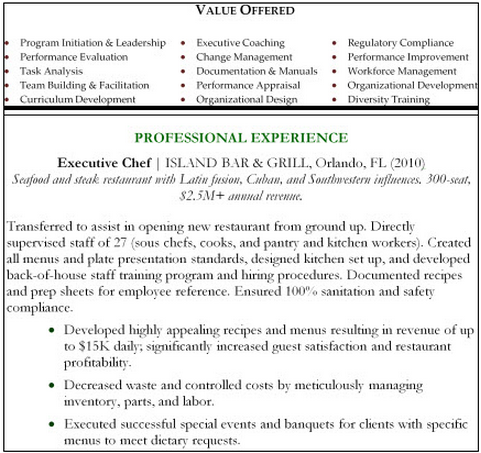 Example of how to utilize bullets in a resume