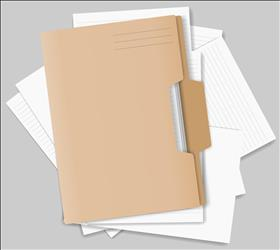 File folder sitting on top of papers