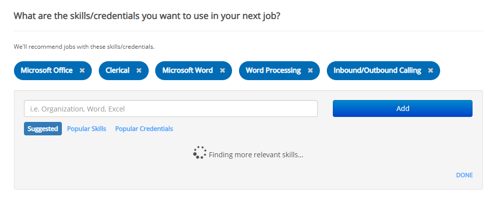 screenshot of ihire job preferences page, skills section refreshing