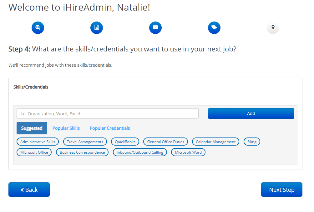 screenshot of ihire onboarding process, step 4