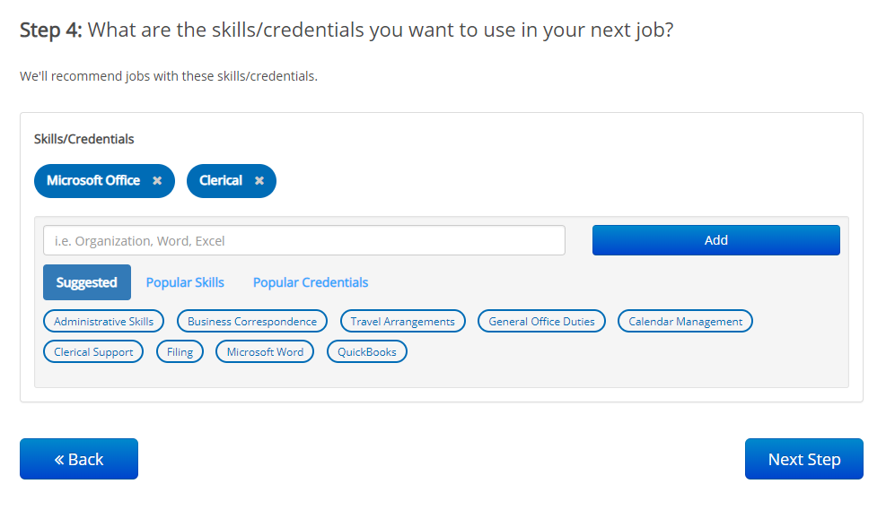 screenshot of fresh skills recommendations on ihire onboarding process, step 4
