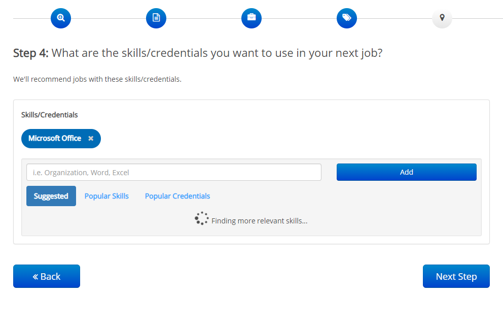 screenshot of skills refreshing on ihire onboarding process step 4
