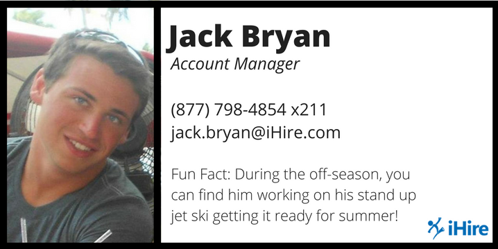 ihire account manager jack bryan business card