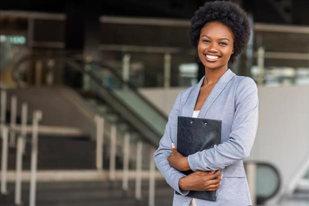 Job seekers with resume portfolio smiling at camera