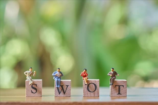 little figurines sitting on SWOT letters