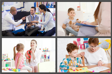 Collage of school administration roles including instructional designer, school psychologist, speech-language pathologist, and occupational therapist