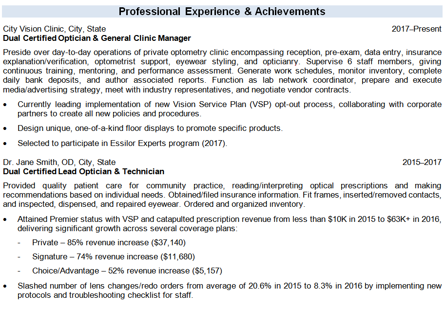 professional experience section of an optician resume