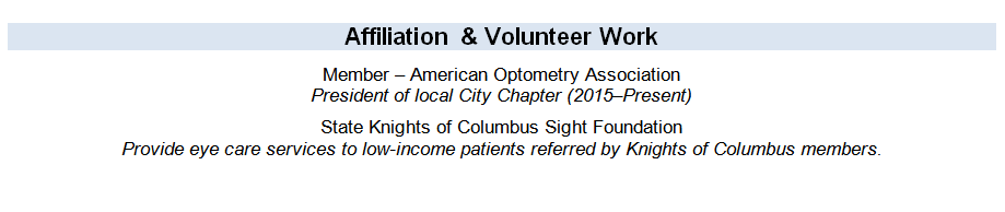 Affiliation and volunteer work section of an optician resume