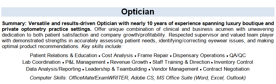 Resume Tips For Opticians
