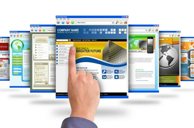 Simulated image of various company pages with job seeker pointing at one