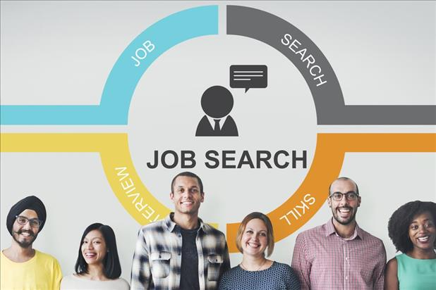 Job seekers standing in front of a chart showing the job search cycle