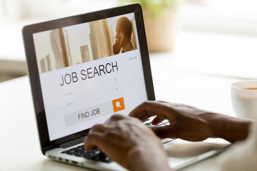 Person searching for jobs on computer