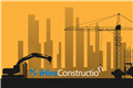 iHireConstruction logo against backdrop of skyline under construction. Illustration.
