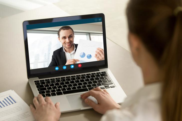 holding a video call