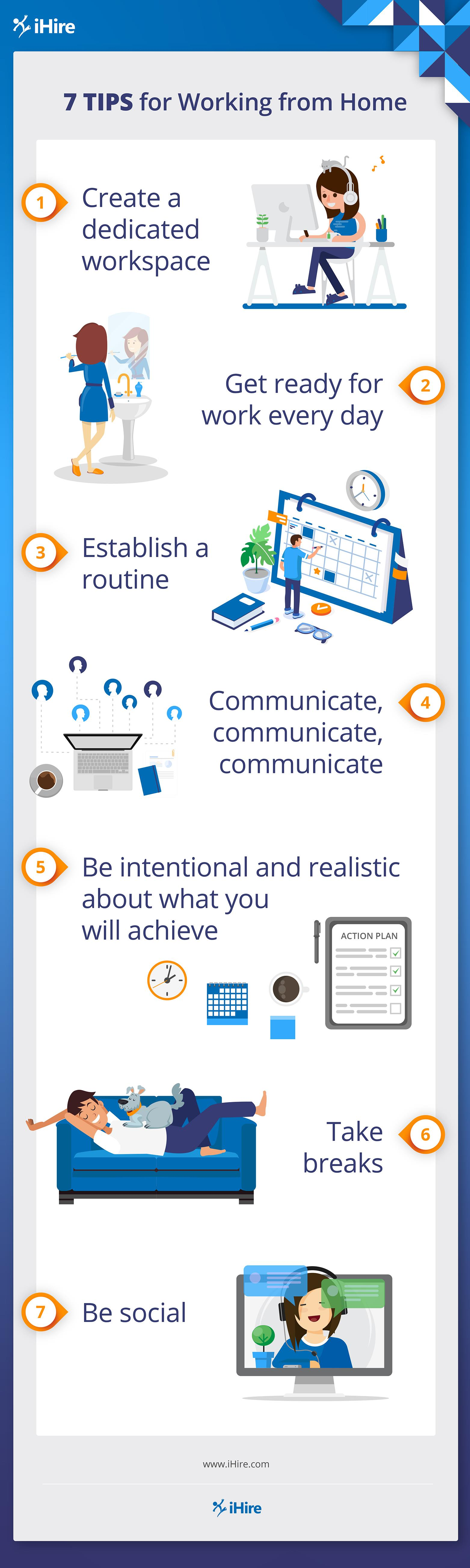 infographic with tips for working from home