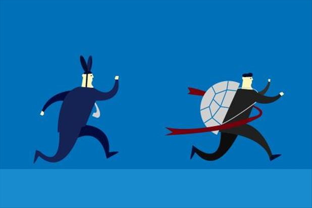 illustration of tortoise and hare race with the tortoise winning
