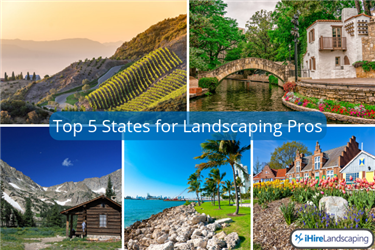 Collage showing the best areas for landscaping jobs in the united states