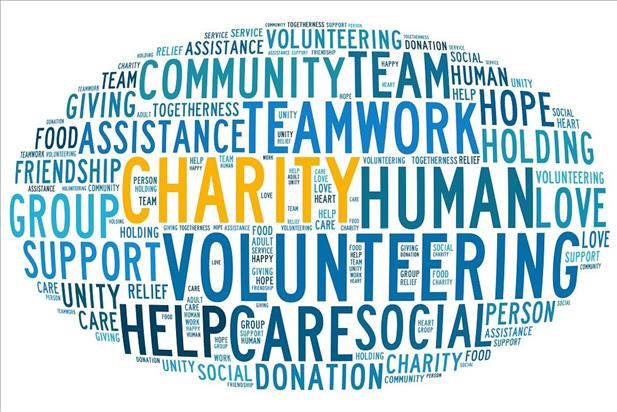 Word cloud highlighting the benefits of volunteering