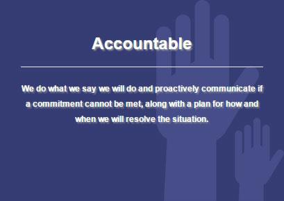 Definition of iHire's core value: accountable