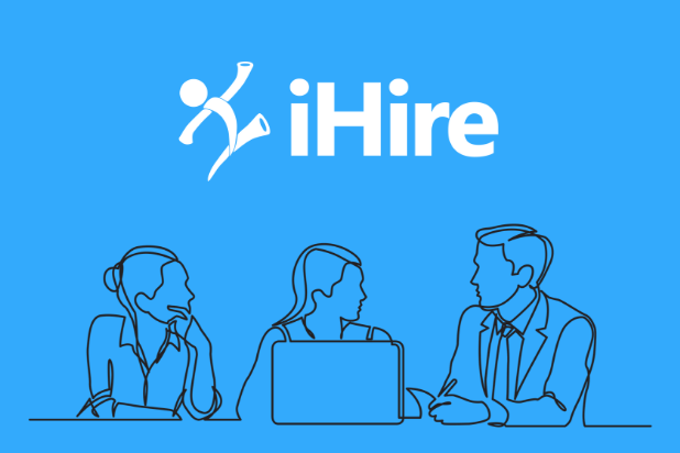 ihire logo above illustration of three people working together at a table with a laptop