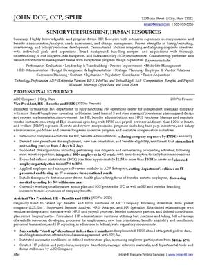 Human resources resume writing services