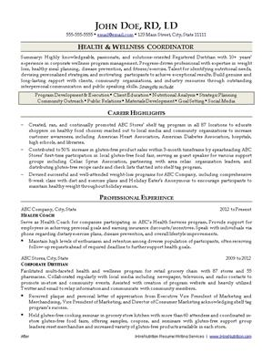 nutritionist resume samples