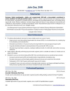 veterinary resume writing service ihireveterinary