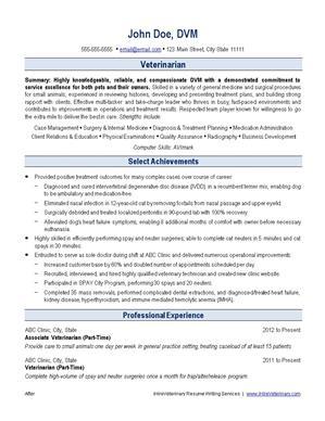 IHireVeterinary  Veterinary Resume
