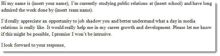 sports industry job shadow request