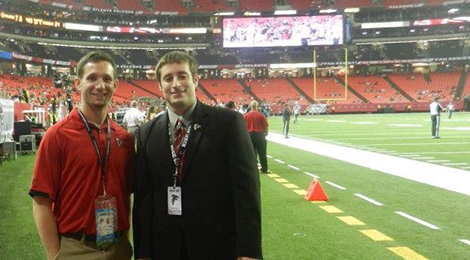 sports internships on the field with Atl Falcons