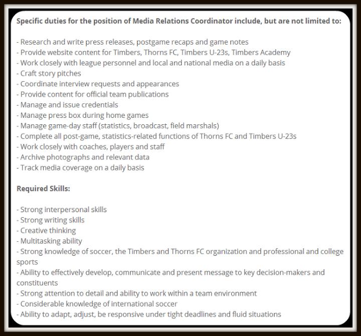 media relations sports job description