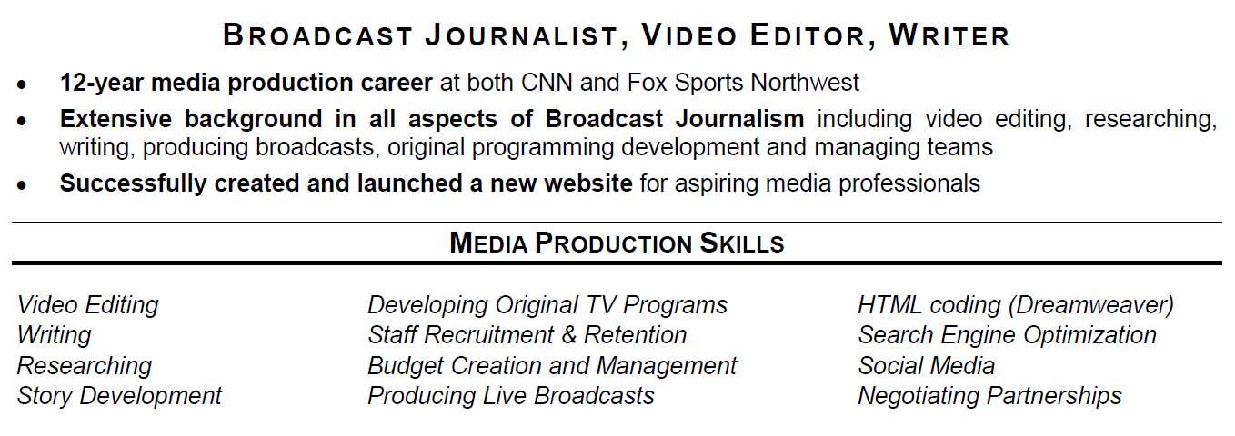 sports industry resume